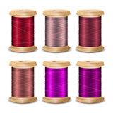 Thread Spool Set. Bright Old Wooden   Bobbin. Isolated On White Background For Needlework And Needlecraft. Stock. Thread Spool Set. Bright Old Wooden Thread Stock Image