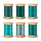 Thread Spool Set. Bright Old Wooden   Bobbin. Isolated On White Background For Needlework And Needlecraft. Stock. Thread Spool Set. Bright Old Wooden Thread Royalty Free Stock Image