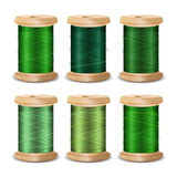 Thread Spool Set. Bright Old Wooden   Bobbin. Isolated On White Background For Needlework And Needlecraft. Stock. Thread Spool Set. Bright Old Wooden Thread Stock Photos