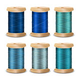 Thread Spool Set. Bright Old Wooden   Bobbin. Isolated On White Background For Needlework And Needlecraft. Stock Stock Images