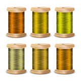 Thread Spool Set. Bright Old Wooden   Bobbin. Isolated On White Background For Needlework And Needlecraft. Stock Royalty Free Stock Photo