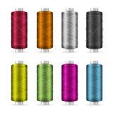 Thread Spool Set. Bright Plastic Bobbin. Isolated On White Background For Needlework And Needlecraft. Stock Vector. Illustration Royalty Free Stock Photo
