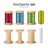 Thread Spool Set. Bright Plastic And Wooden Bobbin. Isolated On White Background For Needlework And Needlecraft. Stock Stock Photos