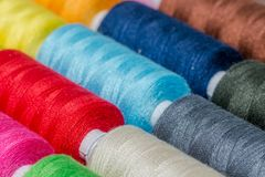 Thread spool set. Creating an interesting background for tailor business Stock Images