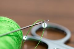 Thread spool set. Creating an interesting background for tailor business Royalty Free Stock Images