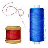 Thread spool and sewing needle vector illustration royalty free illustration