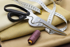 Thread Spools, Measuring Tapes and Scissors Stock Photo