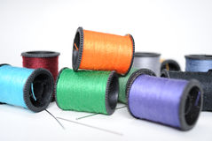 Thread Spools and Needles Stock Image