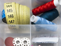 Thread, spools, needles, meter Royalty Free Stock Images