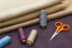 Thread Spools, Pin and Scissors. Royalty Free Stock Photos