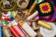 Thread spools and sewing accessories Stock Images