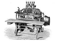 Thread stitching machine for book production, vintage engraving Royalty Free Stock Photos