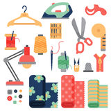 Thread supplies accessories sewing equipment tailoring fashion pin craft needlework vector illustration. Stock Photos