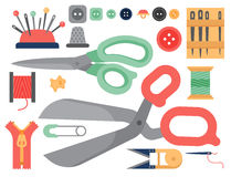 Thread supplies accessories sewing equipment tailoring fashion pin craft needlework vector illustration. Stock Photo