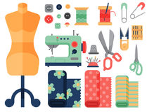 Thread supplies accessories sewing equipment tailoring fashion pin craft needlework vector illustration. Stock Images