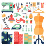 Thread supplies hobby accessories sewing equipment tailoring fashion pin craft needlework vector illustration. Stock Image