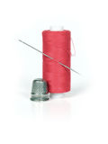 Thread, thimble and needle Royalty Free Stock Photos