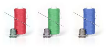 Thread, thimble and needle Royalty Free Stock Image