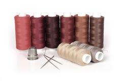 Thread, thimble and needles Stock Photo