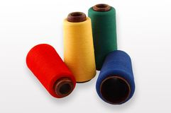 Thread on a white background. Colourful a thread on a white background Royalty Free Stock Photo