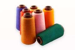 Thread on a white background. Colourful a thread on a white background royalty free stock image