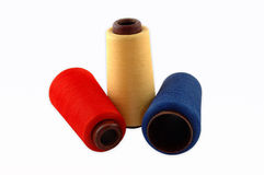 Thread on a white background. Colourful a thread on a white background stock photos