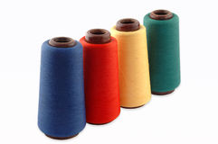 Thread on a white background. Colourful a thread on a white background stock photography