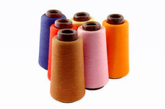 Thread on a white background. Colourful a thread on a white background royalty free stock images