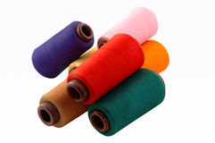 Thread on a white background. Colourful a thread on a white background royalty free stock photos
