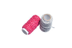 Thread on white isolated background. Red white thread on white isolated background Stock Images