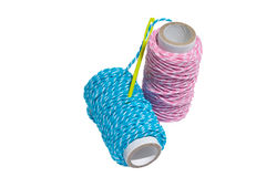 Thread on white isolated background. Threads with needle on white isolated background Royalty Free Stock Photography