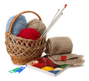 Thread yarn in a basket. Thread yarn in a basket and a book on knitting Royalty Free Stock Photography