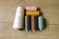 Thread or yarn. Thread is made from a wide variety of materials Stock Images