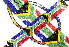 Threaded Beadwork in the Colors of the South African Flag Royalty Free Stock Images
