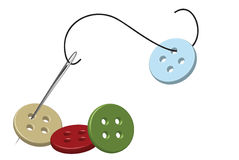 Threaded needle and buttons. Sewing needle, thread and colorful buttons royalty free illustration