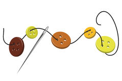 Threaded needle and buttons. Sewing needle, thread and colorful buttons stock illustration