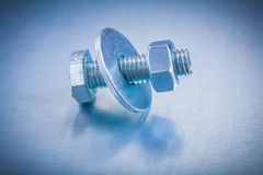 Threaded screwbolt with bolt washer and screw nut Royalty Free Stock Photo