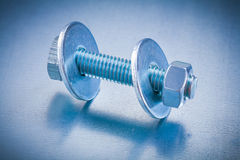 Threaded screwbolt with bolt washers and Stock Images