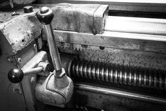 Threaded spindle lathe with a system of levers. On metalworking plant stock photo