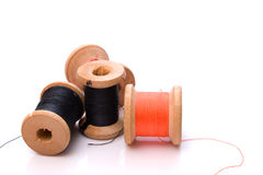 Threads. Group spools threads over white Royalty Free Stock Image