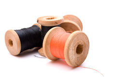 Threads. Group spools threads over white Royalty Free Stock Photography
