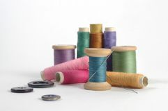 Threads. Various colour threads and buttons Stock Image