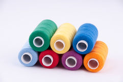 Threads in Babin on a white background. All the colors of the rainbow Stock Photo