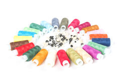 Threads and beads on white background Stock Photography