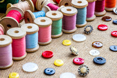 Threads and buttons. Many different color threads and buttons Royalty Free Stock Image
