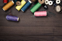 Threads buttons and needles Royalty Free Stock Image