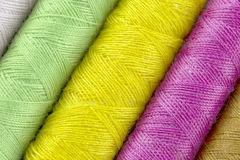 Threads  closeup. Sewing threads multicolored background closeup Royalty Free Stock Photo