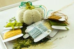 Threads für Stickerei und ein Nadelkissen für Nadeln auf einem hellen Hintergrund Lizenzfreies Stockfoto