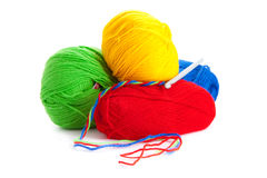 Threads and hook for knitting Stock Photos