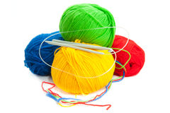 Threads and hook for knitting Royalty Free Stock Photography